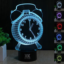 Alarm Clock 3D Touch Control Night Light 7 Color Change LED Desk Table Lamp Gift