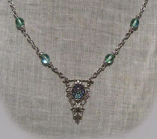 SILVER FILIGREE DAGGER GREEN AQUA DRAGON GLASS OPAL NECKLACE GOTHIC MEDIEVAL