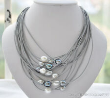 X0359 Amaze 15strands 13mm rice pearl leather necklace 20inch