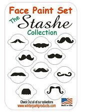 10 Piece Mustache Face Paint Set Facepaint Kit Stencils