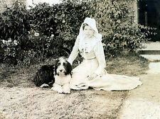 BEARDED COLLIE AND YOUNG EDWARDIAN LADY CHARMING DOG GREETINGS NOTE CARD