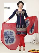 Radiant Cotton Embroidered Dress Material With Chiffon Dupatta D.NO N1022