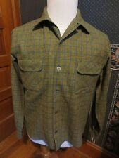 VTG WESTLEY WOOL LUMBERJACK HUNTING WINTER PLAID STRIPED L/S SHIRT SZ M N.O.S.