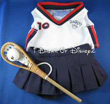 TEDDY LACROSSE GIRL OUTFIT BUILD-A-BEAR CLOTHES TOP, SKORT, BALL & STICK NEW