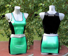 Latex rubber green and black mini dress set / Tenue en set latex vert et noir