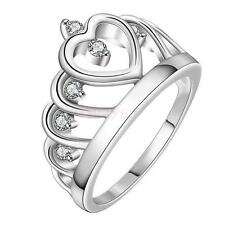 .925 Silver Plated Heart Princess Tiara Crown Finger Ring Women Jewelry Gift