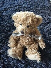 Chazz Brown Russ Berrie Teddy Bear Soft Toy Check Ribbon