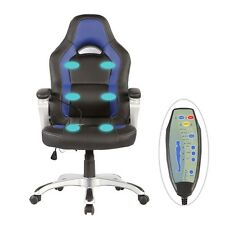 Race Car Office Massage Chair Heated Vibrating PU Leather Ergonomic Computer New