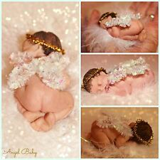 "2.5"" MINIATURE POLYMER CLAY SLEEPING ANGEL BABY WITH WINGS AND HALO  keepsake"