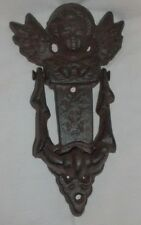 "Vintage Large Heavy Cast Iron Angel Cherub Door Knocker Detailed 8"" x 4"""