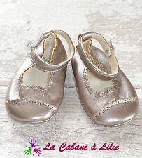 ♥ Chaussures Filles Gris Nacré Marron Pointure 19-20 ♥ L832