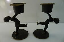 RARE MID CENTURY ISRAEL MADE BY HAKULI BRONZE / BRASS CANDLE STICK HOLDERS