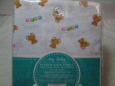 New My Baby TEDDY BEARS Fitted Crib Sheet ~ Also fits Toddler Size Bed NIP
