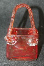 RED AND CLEAR GLASS ART GLASS PURSE SHAPED VASE PLANTER TRINKET WITH HANDLES