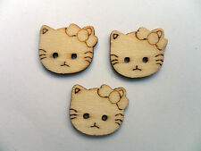 24 pcs hello kitty bois scrapbooking // couture boutons 19mm