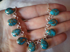 Copper Mojave Turquoise necklace, 45 carats, in 16.3 grms of 925 Sterling Silve