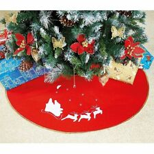 90cm Fabric Christmas Tree Skirt with Santa on his Sleigh with Reindeer