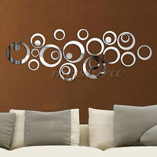 24 Circles Mirror Acrylic DIY Removable Decal Vinyl Art Wall Sticker Home Decor