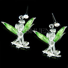 w Swarovski Crystal Green Tinker Bell Tinkerbell Fairy ANGEL PIXIE Wing Earrings