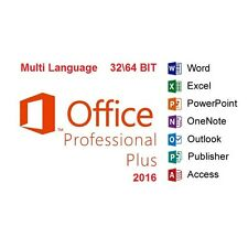 MICROSOFT OFFICE 2016 PROFESSIONAL PLUS MULTI-LANGUAGE 32/64 BIT KEY LICENZA
