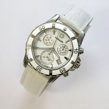 NEW $495 LADIES WENGER 70748 WHITE MOP DIAL 36MM SS 100M WR CHRONOGRAPH WATCH NR