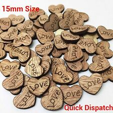 100pcs 15mm Wooden Mini Love Heart Wood Scrapbook Wedding Craft Embellishment UK