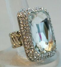 "Silver CRYSTAL Emerald Cut Rectangle 1.5"" Stretch Band Cocktail Ring Gift"