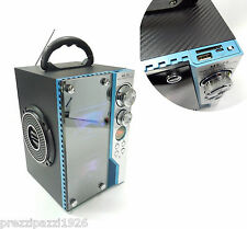 RADIO CASSA SPEAKER RICARICABILE USB SD AUX PER IPOD PC SMARTPHONE LUCI LED MP3