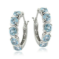 Sterling Silver 3.00ct TGW Blue Topaz S Design Hoop Earrings