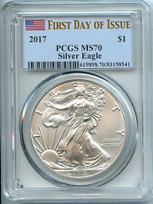 2017 Silver Eagle Dollar PCGS MS70 Coin 1st Day Issue Flag Label ASE FDI ON HAND
