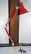 Vintage Mid Century Articulating Swing Arm Drafting Desk Lamp Luxo Ledu Red RARE