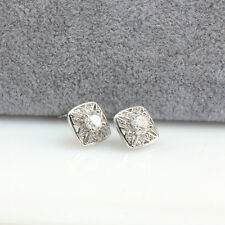 Vintage Silver Toned Square Stud Earrings with Cubic Zirconia, Wholesale Price