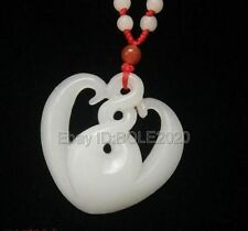 Natural White Afghan Jade Carved Heart Hollow Lucky Pendant + Rope Necklace