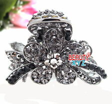 New Fancy Black Color Rhinestone Crystal Metal flowers hair claws clip for woman