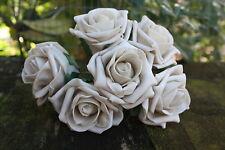 6 x Champagne Beige (molto chiaro il caffè) Tridimensionale Schiuma Open Cottage Roses 6cm