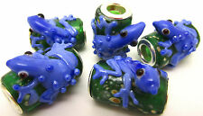 5PCS Silver Lampwork Glass Frog Animals Beads fit European Charm Bracelet ZXY017
