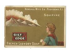 Trade Card Kendall Providence RI SOAPINE Gilt Edge French Laundry Soap Mountains