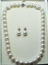 NECKLACE-EARRING SET 16.1mm!! SOUTH SEA PEARLS+18ct WHITE GOLD CLASP/STUDS +CERT