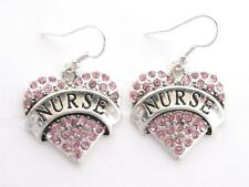 Nurse Nursing RN LPN Silver Plated Pink Crystal Heart Earrings Jewelry