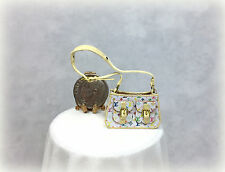 Dollhouse Miniature Handcrafted Leather Designer Handbag with Open Top