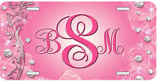 Personalized Monogrammed License Plate Auto Car Tag Pink Diamonds