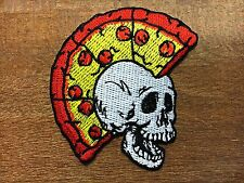 Skull Mohawk Punk Rock Pizza Biker Embroidered Applique Iron on Patch