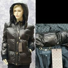 GUCCI New sz 46 - 10 Authentic Womens Leather Designer Black Puffer Coat Jacket
