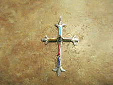 Vintage Zuni G&L Leekity Sterling Silver Turquoise, Coral Cross Pendant    3""