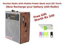 SONILEX MP3 PLAYER AM FM MW RADIO PEN DRIVE CARD TORCH & POWER BANK AUX SPEAKERS