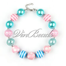 Blue Pink Chunky Polka Dots Bead Bubblegum Necklace for Easter Festival Gift
