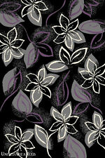 8x10  Area  Rug  Contemporary Modern  Floral  Leaf  Design  Black &  Purple  New