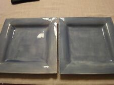 Four Pottery Barn Square Saulsalito Plates Blue   11 5/8""