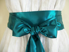 "2.5""X60"" DARK HUNTER GREEN SATIN SASH BOW TIE BELT UPDATE DRESS SKIRT TROUSERS"