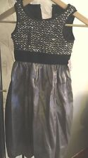 Dorissa Girls Beaded Black Bodice  Silver Puffy Skirt Evening Gown  6 Rey $64.99